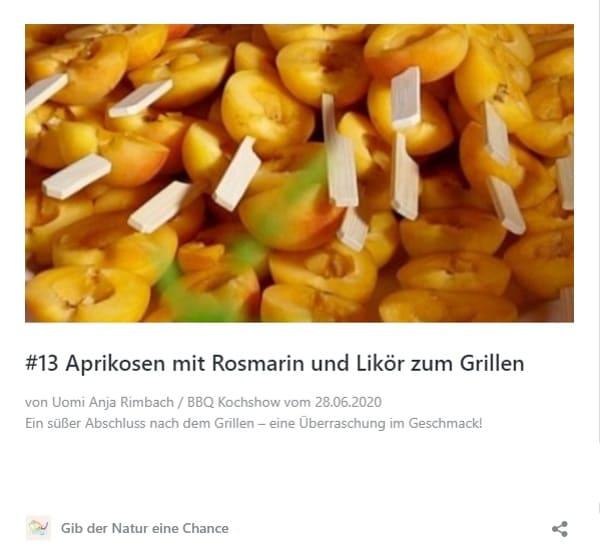 Aprikosen mit Rosmarin und Likör zum veganen Grillen