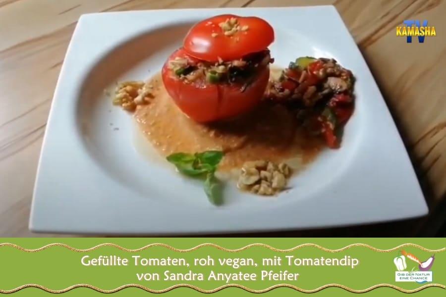 Rezept gefüllte Tomaten roh vegan mit Dip