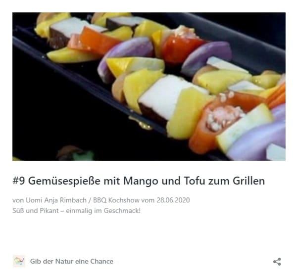 Gemüsespieße mit Mango und Tofu