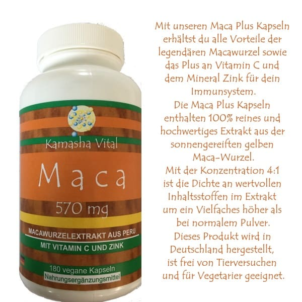 Maca Kapseln mit Vitamin C und Zink